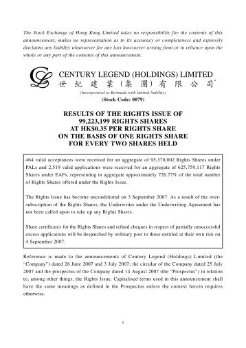 Results of the Rights Issue of 99223199 Rights Shares at HK$0.35 Per