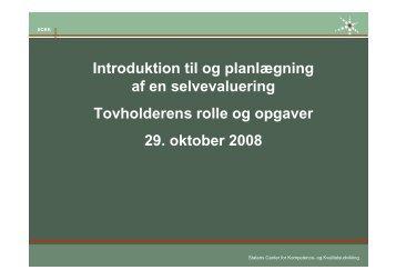 Introduktion til og planlægnng af en selvevaluering - SCKK