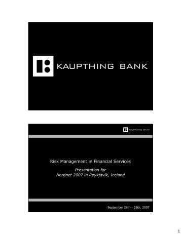 Risk Management in Financial Services