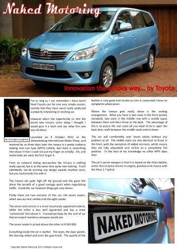 Toyota Innova 7 seat test.pdf - Naked Motoring SA