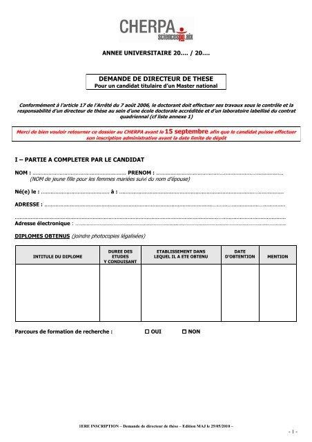 Demande directeur de thèse - Sciences Po Aix