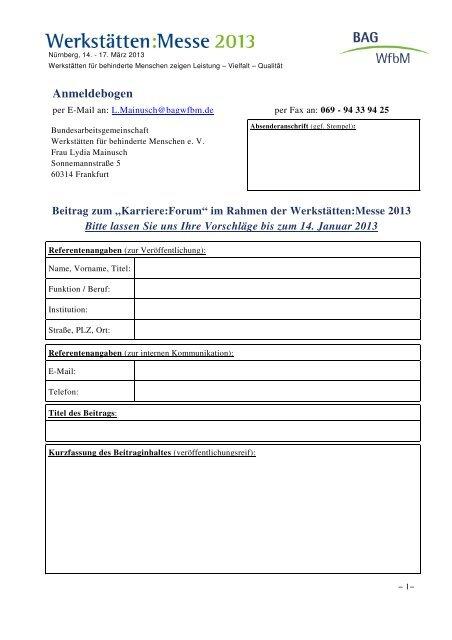 Rückmeldebogen - Beitrag zum Karriere-Forum - Werkstätten:Messe