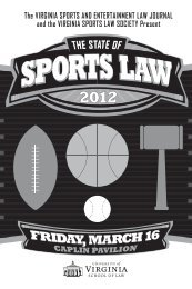 The VIRGINIA SPORTS AND ENTERTAINMENT LAW JOURNAL ...