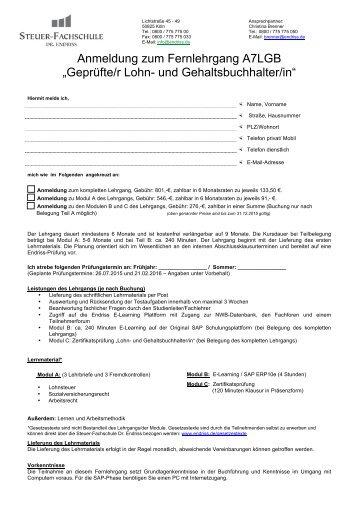 Anmeldung zum Fernlehrgang A7 - Steuer-Fachschule Dr. Endriss