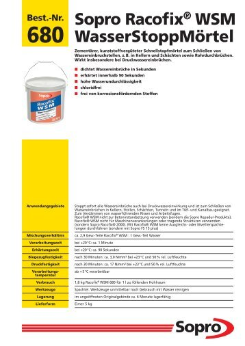 Datenblatt Racofix WSM 680 - SOL AG