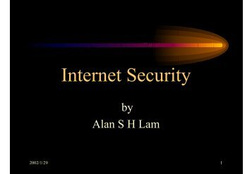 Internet Security - Dept. of IE, CUHK Personal User Web Server