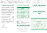 Fortbildungskalender 2010 - Zimmermann Vital in Straubing