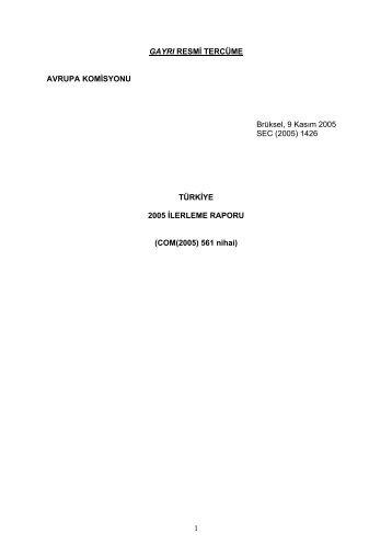 Türkiye Düzenli İlerleme Raporu 2005 - Avrupa Birliği Bakanlığı