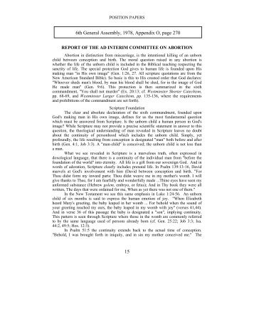 Report of the Ad-Interim Committee on Abortion - PCA Historical ...