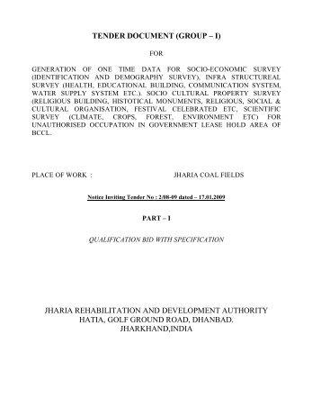 tender _survey_0809_GR-I - JRDA - Jharia Rehabilitation ...