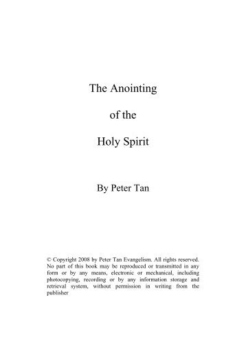 The Anointing of the Holy Spirit - Jesus Is King Ministries