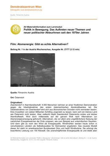 Atomenergie: Gibt es echte Alternativen? - Demokratiezentrum Wien