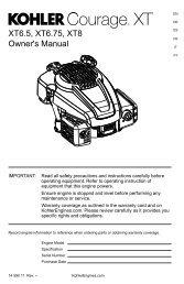 XT6.5, XT6.75, XT8 Owner's Manual - Kohler Engines