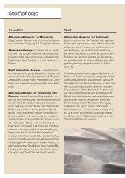 Stoffpflege - Download PDF (62 KB) - Wohncenter von Allmen AG