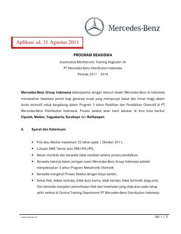 program beasiswa 36 ext - Mercedes-Benz Indonesia