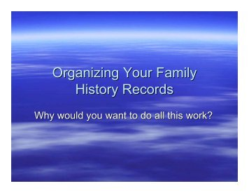 Organizing Your Family History Records
