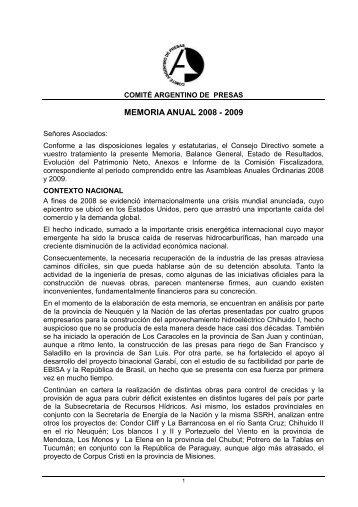 Memoria anual 2008-2009 - Comité Argentino de Presas