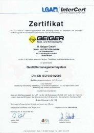 Urkunde als pdf-Dokument, (443 KB) - H. Geiger GmbH Stein