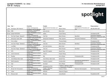Ergebnisliste TOP 30 zum Download - Spotlight