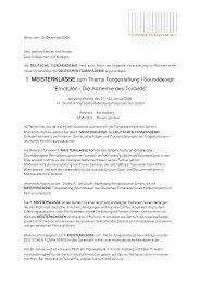 MEISTERKLASSE zum Thema Tongestaltung   Sounddesign Emot(i)