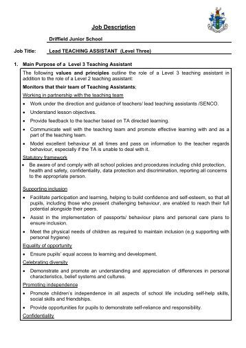 teaching assistant job description Get the right teacher assistant job with company ratings & salaries  church ( wwwtfpdxcom) job description: the preschool assistant works with students 2.