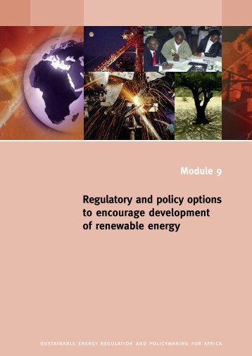 Regulatory and policy options to encourage development of ...