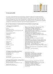 Vorauswahl 2006 - Deutsche Filmakademie