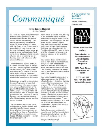 Communiqué - Commission on Accreditation of Allied Health ...