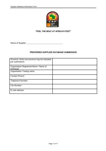Supplier Database Submission form - South African Football ...