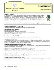 C. Difficile Fact Sheet - Saskatoon Health Region