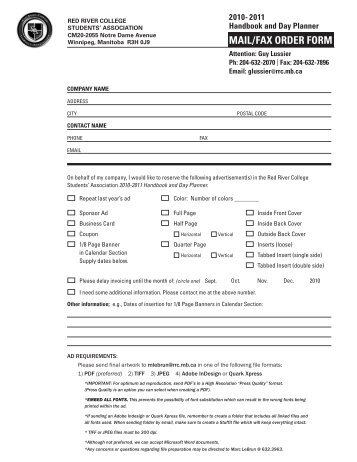 MAIL/FAX ORDER FORM - Red River College Students