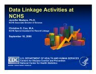 Data Linkage Activities at NCHS - National Committee on Vital and ...