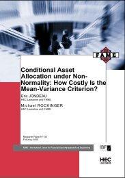 Conditional Asset Allocation under Non - Swiss Finance Institute