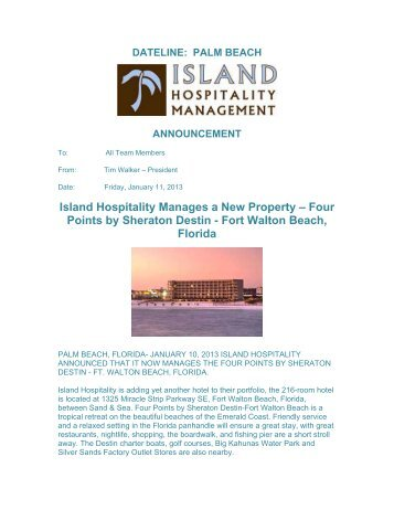 Press Release - Island Hospitality Management