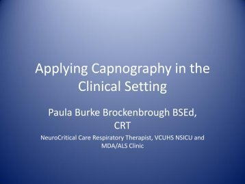 Applying Capnography in the Clinical Setting