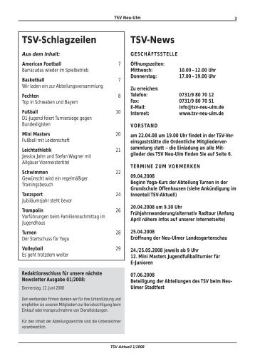 Ausgabe 1/2008 - TSV 1880 Neu-Ulm
