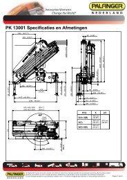 PK 13001 Specificaties en Afmetingen - Palfinger