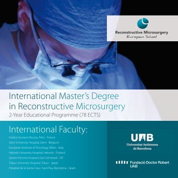 International Master's Degree in Reconstructive Microsurgery ...