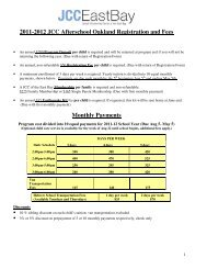 2011-2012 JCC Afterschool Oakland Registration ... - JCC East Bay