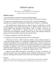 Indicator species - Laboratoire de Pierre Legendre - Université de ...