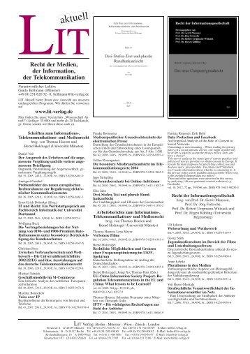 Recht der Medien, der Information, der ... - LIT Verlag