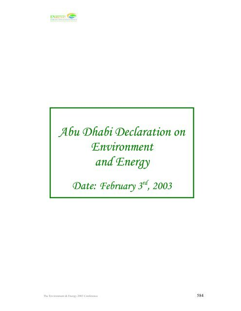 Abu Dhabi Declaration on Environment and Energy