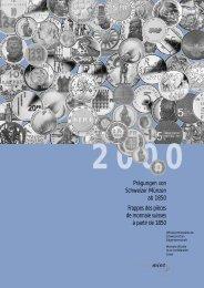 Prägungen von Schweizer Münzen ab 1850 Frappes des pièces de ...