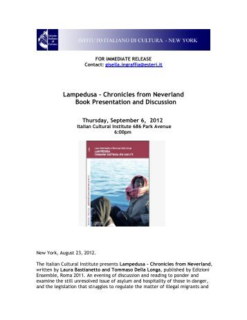 Lampedusa - Chronicles from Neverland Book Presentation and ...