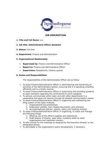 Job Description Of Administrative Officer Assistant  Duties Of Administrative Assistant