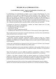 RESUME DE LA COMMUNICATION – SUMMARY
