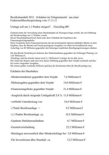 Bezirkshaushalt 2012 -Eckdaten im Telegrammstil- aus einer ...
