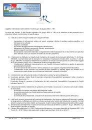 Oggetto: Informativa ai sensi dell'art. 13 del D.Lgs. 30 giugno ... - Sir