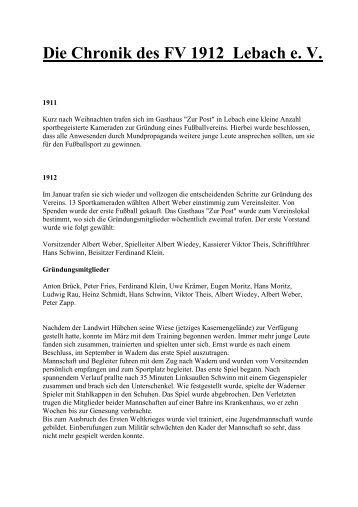 Chronik des FVL - Historischer Verein Lebach EV