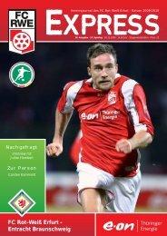 Fr 6.30 - 22.00 Uhr Sa 7.30 - 14.00 Uhr - FC Rot-Weiss Erfurt e.V.